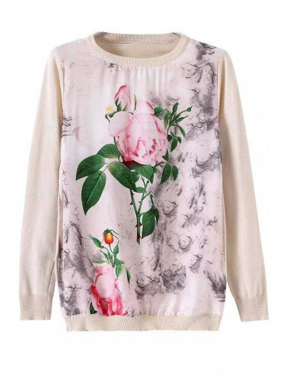 women Floral Leaves Print Long Sleeve Sweater - OFF-WHITE S