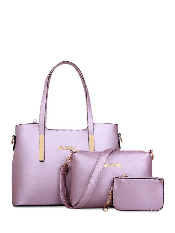 fancy Letter Print Rivets Zipper Shoulder Bag - LIGHT PURPLE