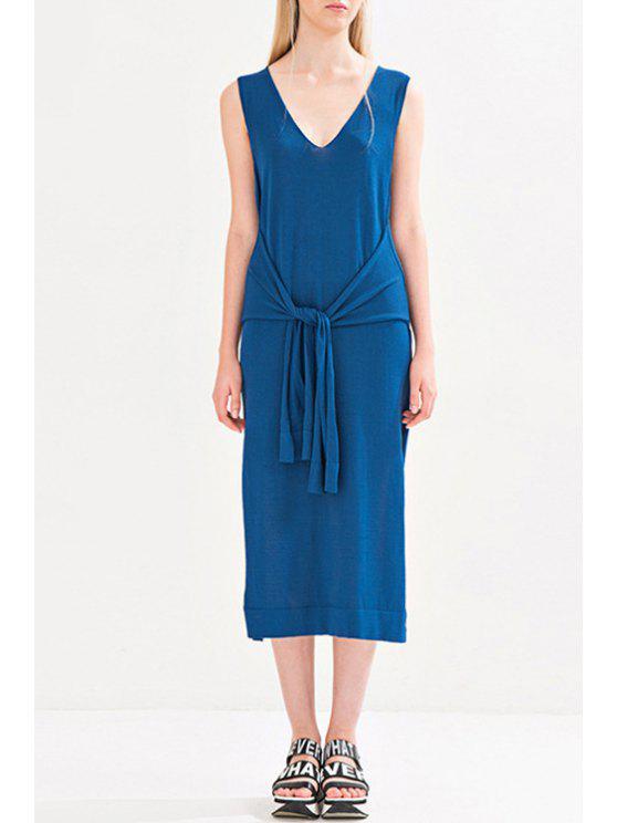 sale Tie-Up Side Slit Loose Dress - BLUE S