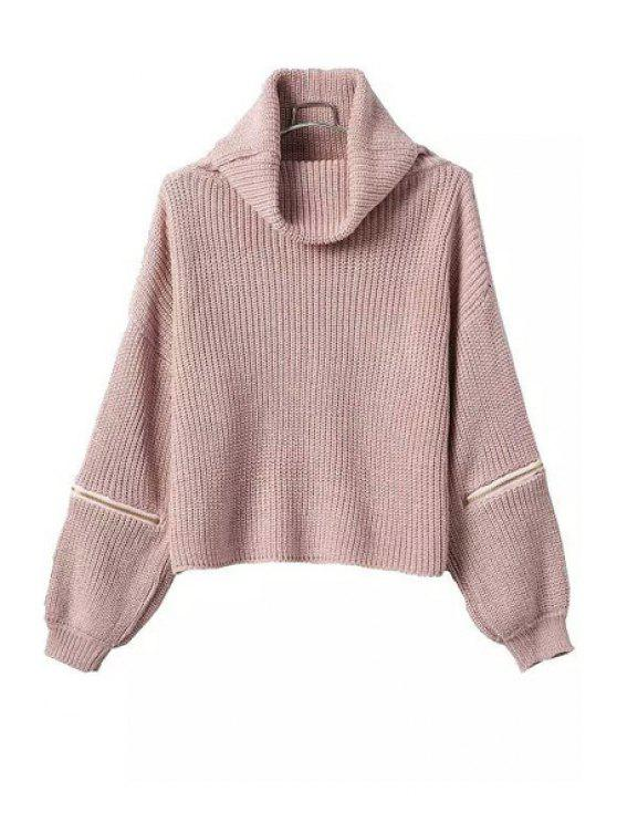 fancy Turtle Neck Zipper Embellished Long Sleeve Sweater - PINK ONE SIZE(FIT SIZE XS TO M)