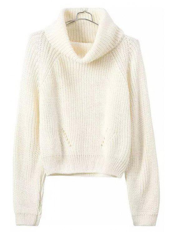 women's Turtle Neck Openwork Solid Color Sweater - WHITE ONE SIZE(FIT SIZE XS TO M)