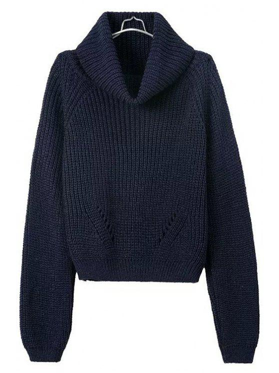 hot Turtle Neck Openwork Solid Color Sweater - DARK BLUE ONE SIZE(FIT SIZE XS TO M)