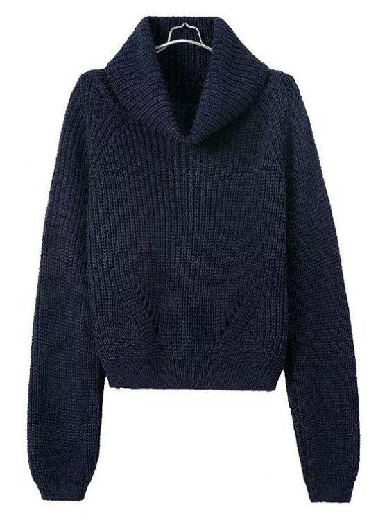 Suéter de color sólido con cuello de tortuga - AZUL OSCURO  Un tamaño(Montar tam