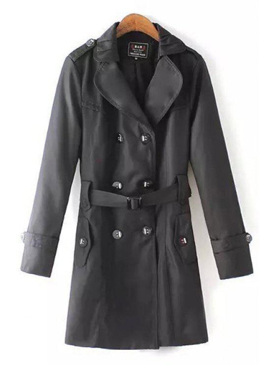hot Solid Color Lapel Long Sleeve Trench - BLACK XL