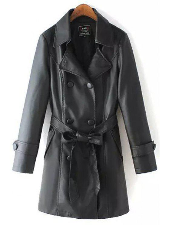 chic Black PU Leather Lapel Long Sleeve Trench - BLACK S