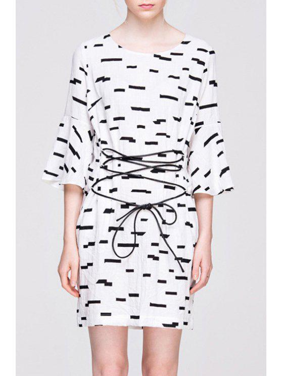 shop Bell Sleeve Printed Lace-Up Dress - WHITE AND BLACK S