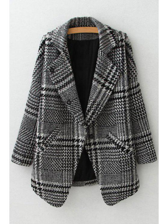 women's Lapel Stripe Checked Long Sleeve Trench Coat - GRAY S