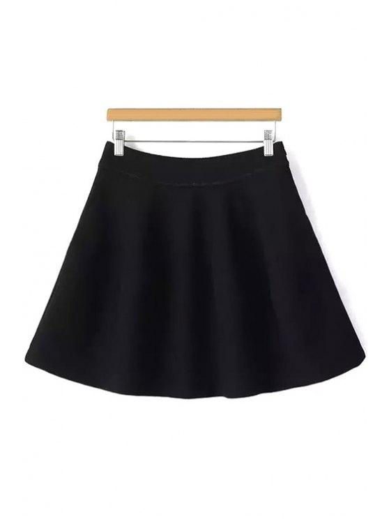 womens Solid Color Flounce High Waisted Skirt - BLACK S