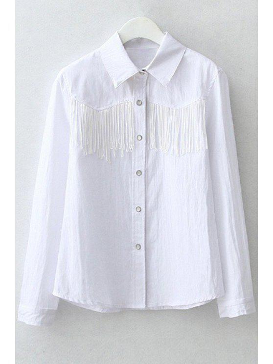 unique Polo Collar Fringe Splicing Long Sleeve Shirt - WHITE S