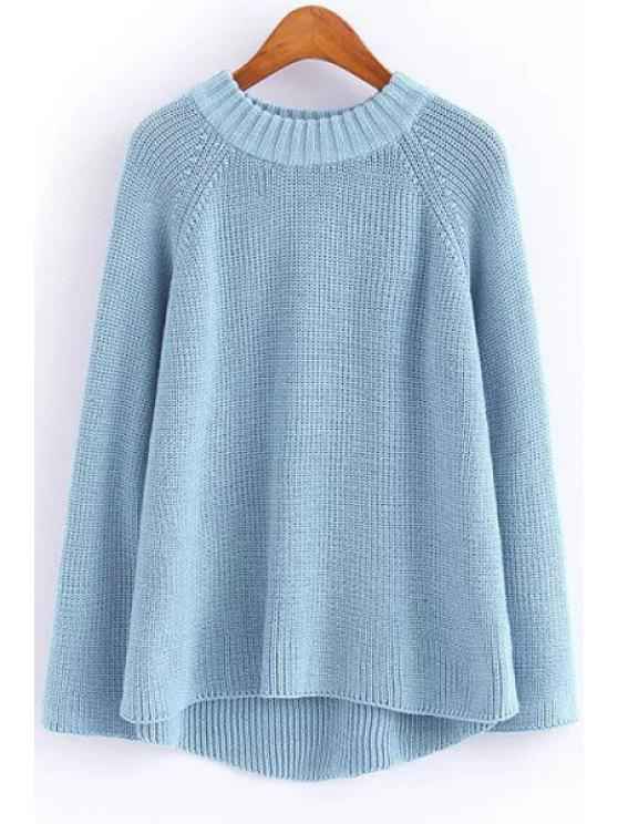 fashion Solid Color Round Neck Long Sleeve Jumper - BLUE ONE SIZE(FIT SIZE XS TO M)
