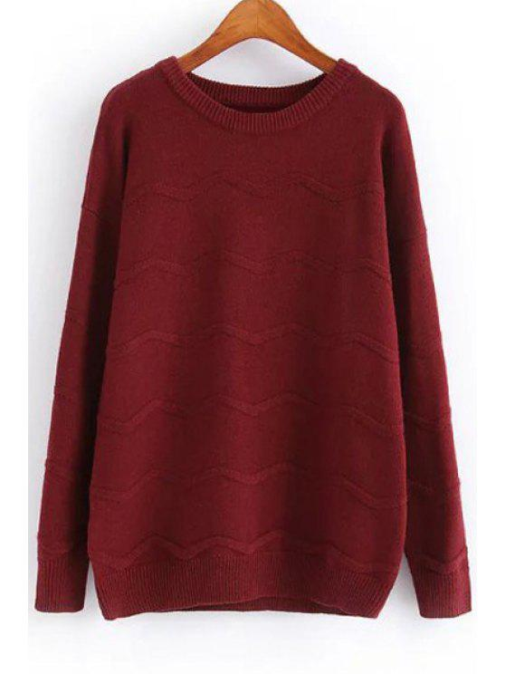fancy Solid Color Jewel Neck Long Sleeve Jumper - WINE RED ONE SIZE(FIT SIZE XS TO M)