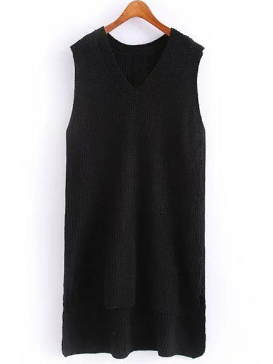 affordable Solid Color V Neck Sleeveless Jumper - BLACK ONE SIZE(FIT SIZE XS TO M)