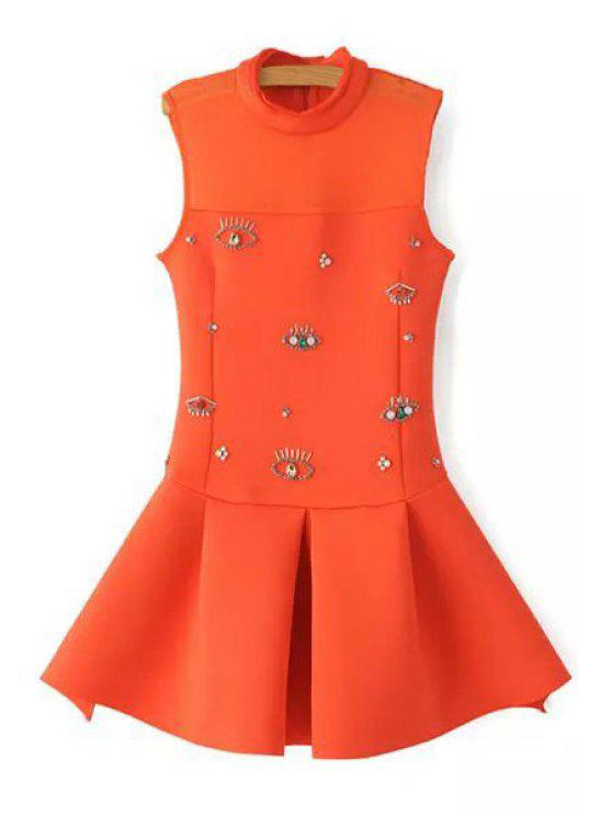 womens Rhinestone Eyes Pattern Sleeveless Dress - ORANGE S