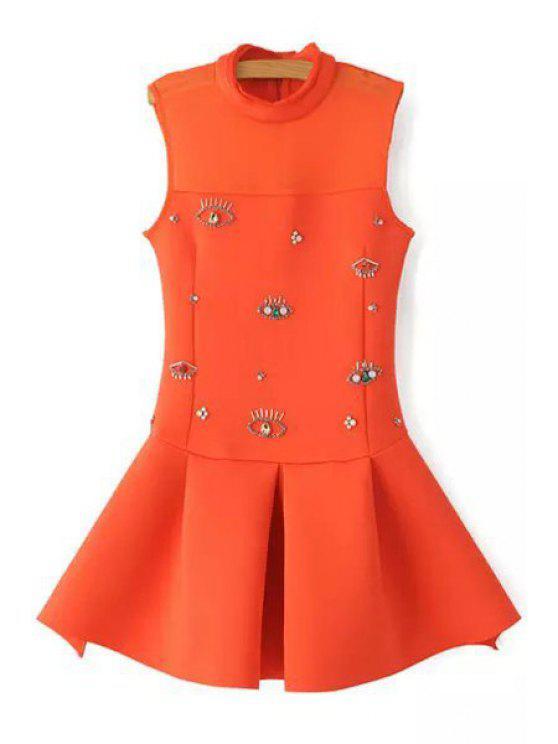 womens Rhinestone Eyes Pattern Sleeveless Dress - ORANGE S