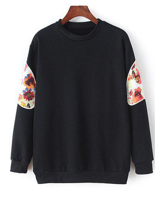 fashion Floral Spliced Long Sleeve Sweatshirt - BLACK M