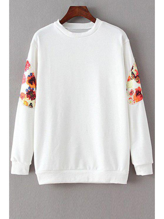 fancy Floral Spliced Long Sleeve Sweatshirt - WHITE M