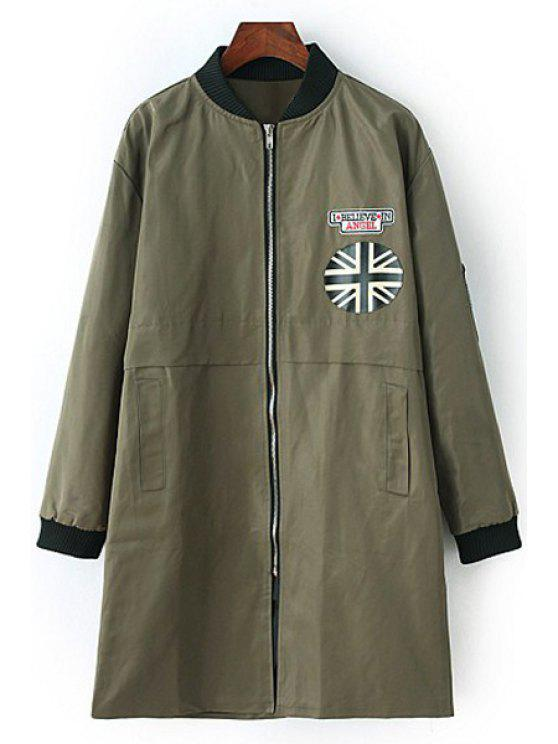latest Patch Design Stand Neck Long Sleeve Coat - ARMY GREEN L
