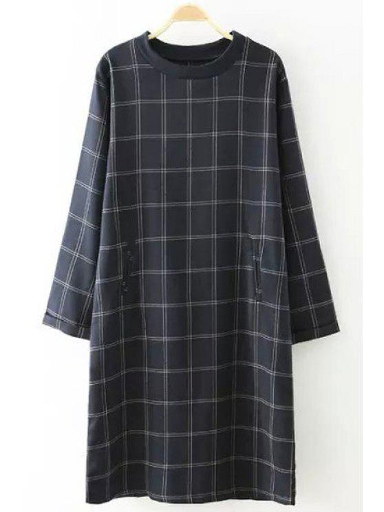 outfit Plaid Print Round Neck Long Sleeves Dress - CADETBLUE ONE SIZE(FIT SIZE XS TO M)
