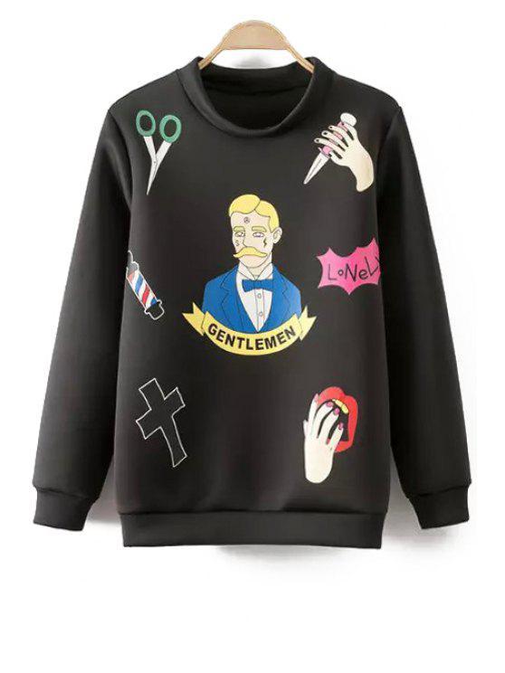 fashion Figure Palm Print Long Sleeve Sweatshirt - BLACK M