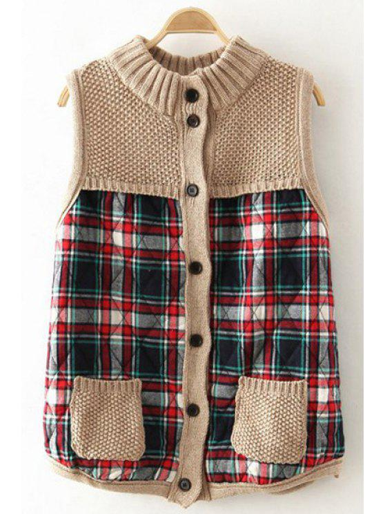 shop Plaid Spliced Stand Neck Waistcoat - BEIGE ONE SIZE(FIT SIZE XS TO M)