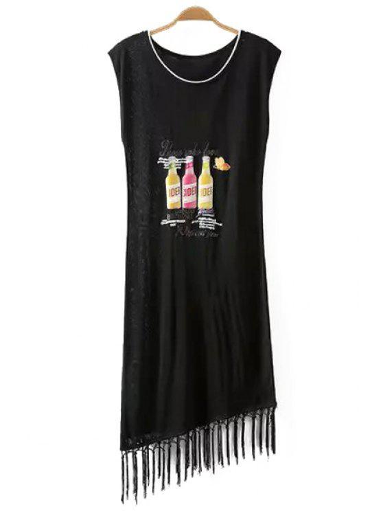 lady Bottles Print Sleeveless Dress - BLACK ONE SIZE(FIT SIZE XS TO M)