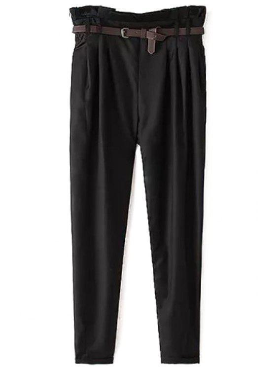 best Narrow Feet Harem Pants With Belt - BLACK XL