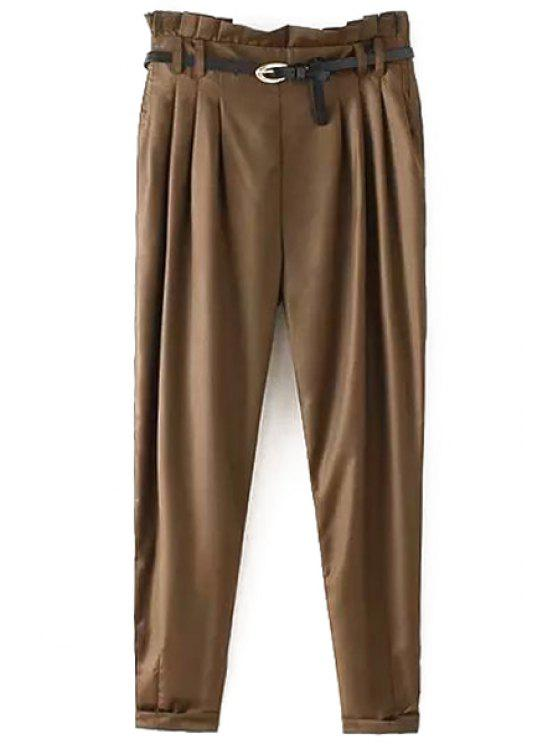 shops Narrow Feet Harem Pants With Belt - COFFEE L