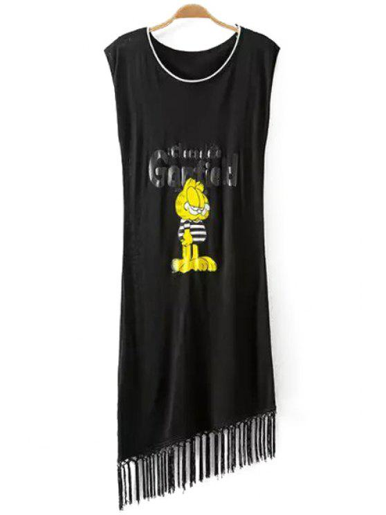 hot Fashionable Scoop Neck Cartoon Print Sleeveless Dress For Women - BLACK ONE SIZE(FIT SIZE XS TO M)