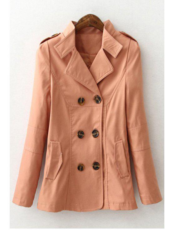 sale Solid Color Lapel Long Sleeves Trench - PINK M