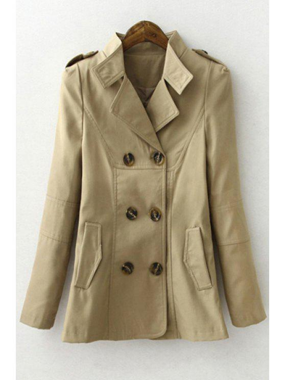 womens Solid Color Lapel Long Sleeves Trench - KHAKI S