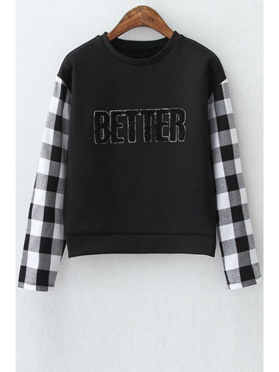 buy Checked Spliced Long Sleeve Sweatshirt - BLACK L