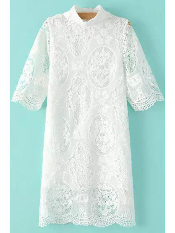 outfit Stand-Up Collar Openwork Lace Dress - WHITE S