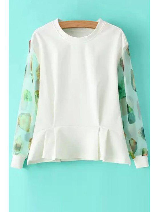 online Print Voile Spliced Long Sleeve Sweatshirt - WHITE S