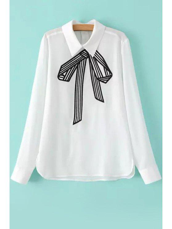 chic Bowknot Pattern Embroidery Long Sleeve Shirt - WHITE S