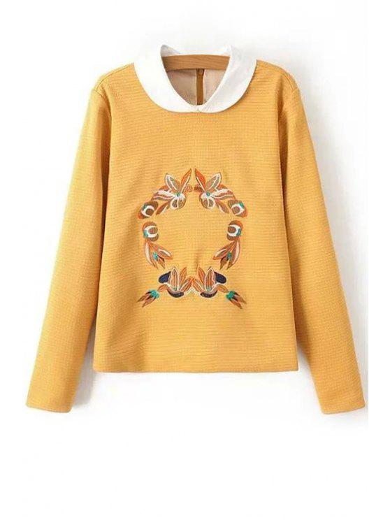 fashion Floral Peter Pan Collar Long Sleeve Sweatshirt - YELLOW S