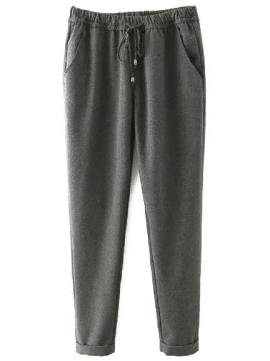fancy Elastic Waist Tie-Up Pants - GRAY 2XL