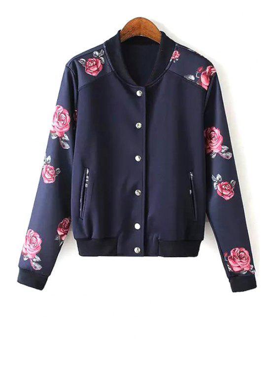 affordable Rose Print Baseball Jacket - PURPLISH BLUE M