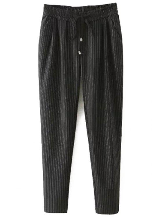 buy Tie-Up Stripe Pants - BLACK 2XL