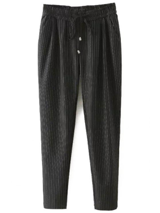 sale Tie-Up Stripe Pants - BLACK XL