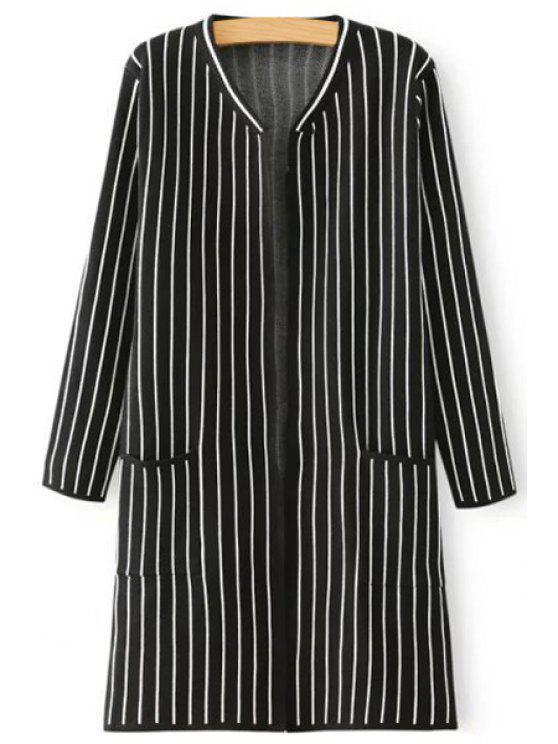 shop V Neck Stripe Pocket Long Sleeve Cardigan - BLACK ONE SIZE(FIT SIZE XS TO M)