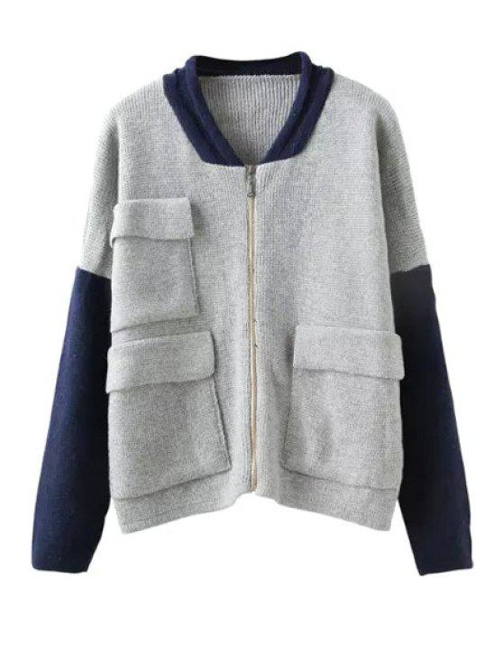 lady Color Block Pocket Knitted Coat - GRAY ONE SIZE(FIT SIZE XS TO M)