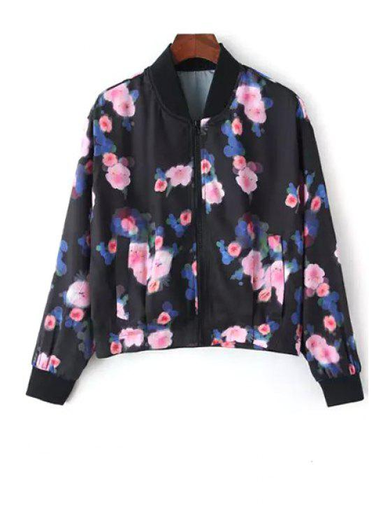 trendy Pink Floral Print Long Sleeve Jacket - BLACK S