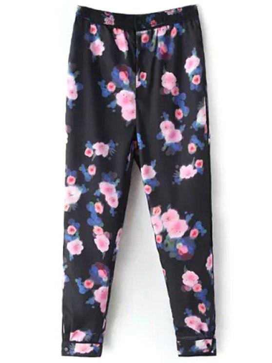 women Pink Floral Print Pants - BLACK S
