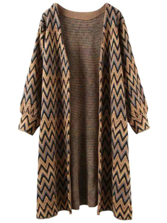 outfit Open Front Zig Zag Long Cardigan - COFFEE ONE SIZE(FIT SIZE XS TO M)