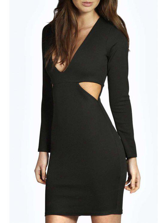 sale Cut Out Plunging Neck Long Sleeve Bodycon Dress - BLACK M