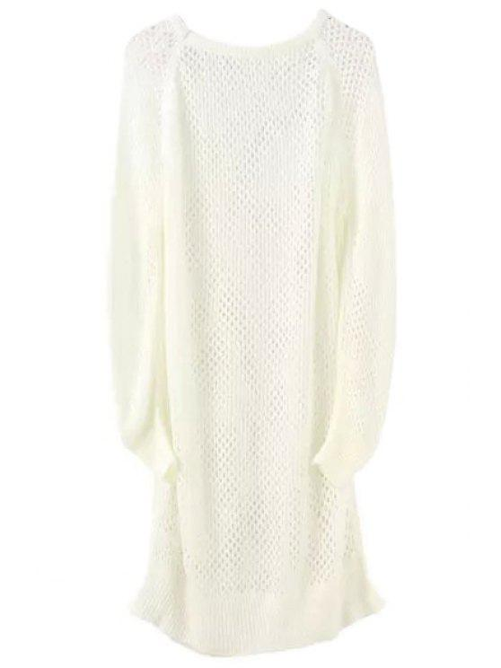 shop Loose-Fitting Long Hollow Sweater - WHITE ONE SIZE(FIT SIZE XS TO M)