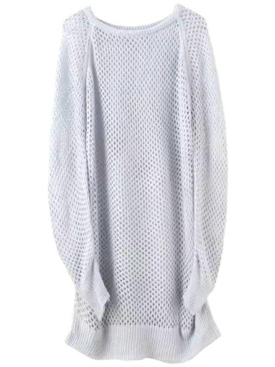 latest Loose-Fitting Long Hollow Sweater - GRAY ONE SIZE(FIT SIZE XS TO M)