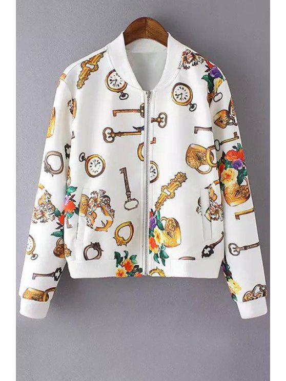 womens Key Floral Print Long Sleeve Jacket - WHITE M