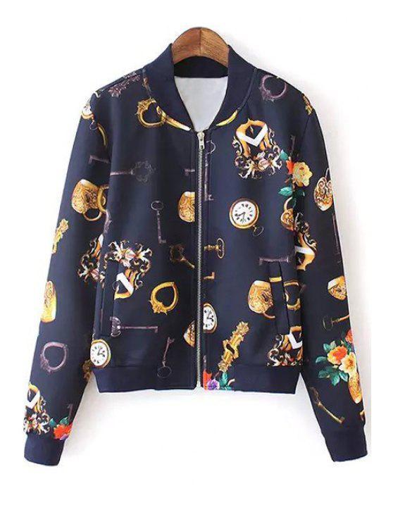 online Key Floral Print Long Sleeve Jacket - CADETBLUE M