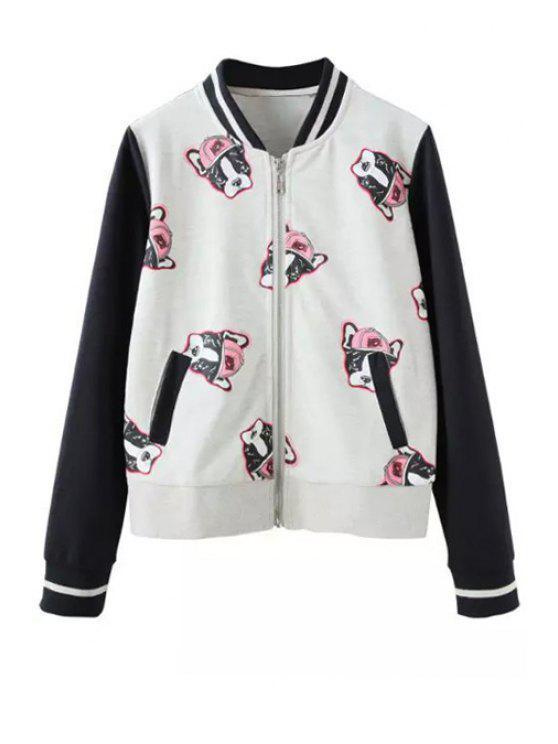 women Puppy Print Baseball Jacket - WHITE S